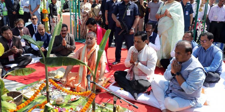 Assam CM Sarbananda Sonowal, in presence of other dignitaries, performs Bhumi Pujan to mark the inauguration of a new bridge over the Brahmaputra in Guwahati on Sunday