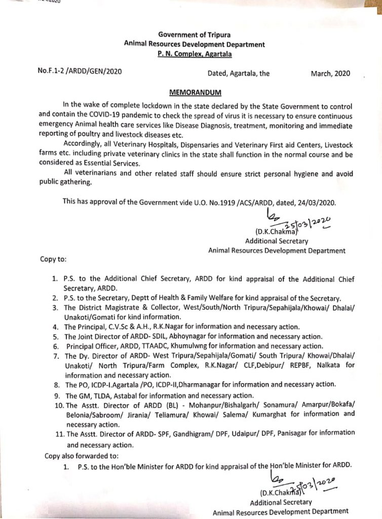 Tripura: Veterinary services exempted from the purview of lockdown restrictions 4