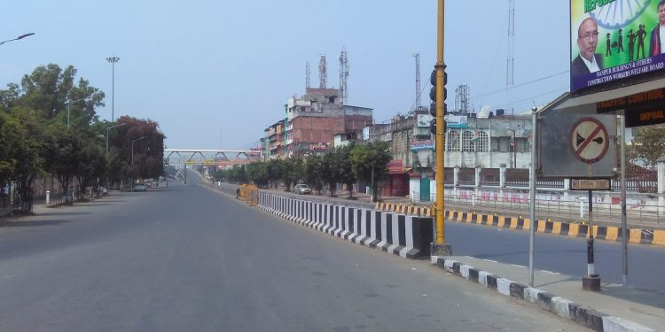 A deserted Imphal street. Image: Northeast Now
