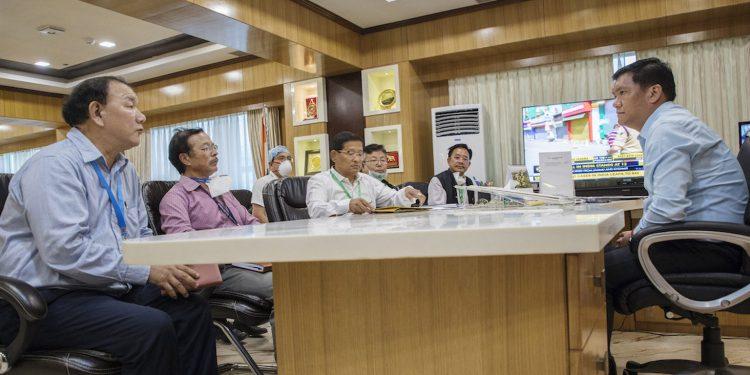 Arunachal CM Pema Khandu with health officials. Image: Northeast Now