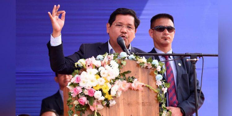 Meghalaya CM Conrad Samgma addressing a gathering in Tura on Wednesday.