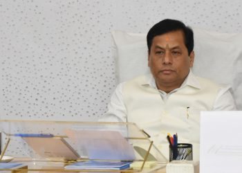 Assam CM Sarbananda Sonowal reviewing the works of sports and youth welfare department in Guwahati on Monday.