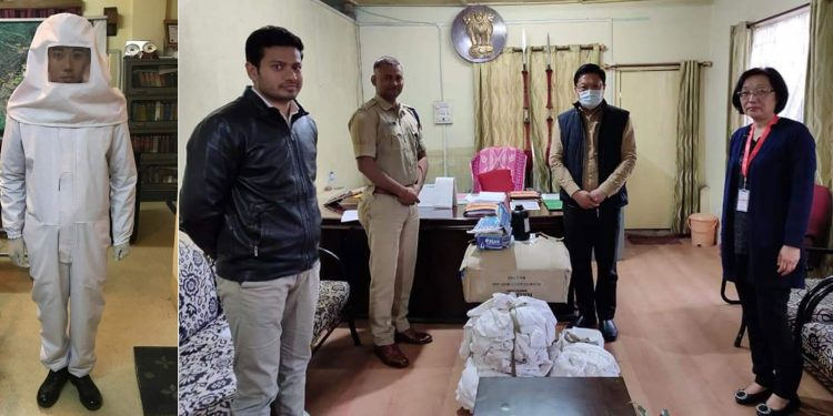 Protective suit, masks donated by Mokokchung police. Image credit: Twitter