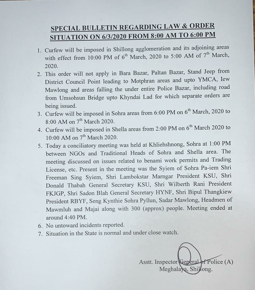 Curfew reimposed in Shillong from Friday 10 pm to Saturday 5 am 1