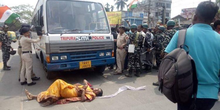 Tripura police arrested 310 protesting teachers in Agartala.