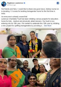 Akshay Kumar to donate Rs 1.5 cr for transgender home 1