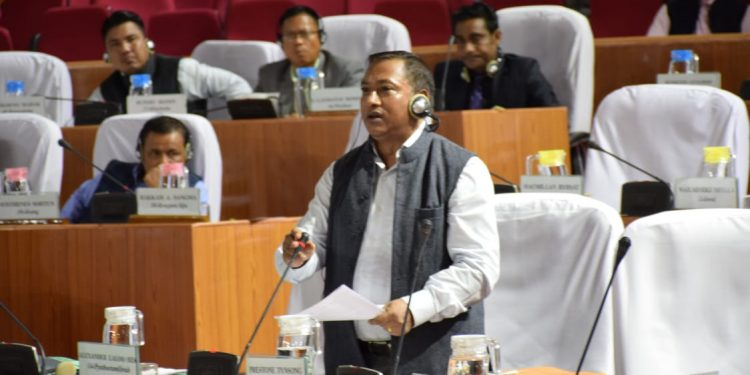 File image of Meghalaya health minister A L Hek addressing the State Legislative Assembly