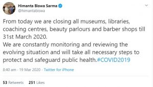 Coronavirus scare: Museums, libraries, coaching centres closed in Assam 1