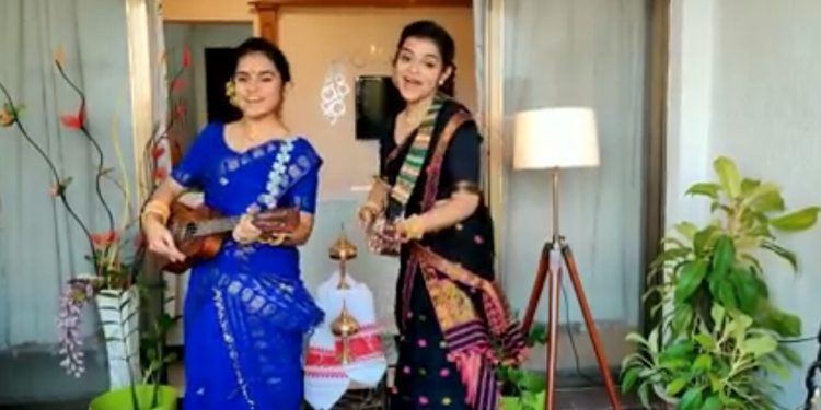 Antara and Akita Nandy playing Ukuleles in the video broadcast in YouTube