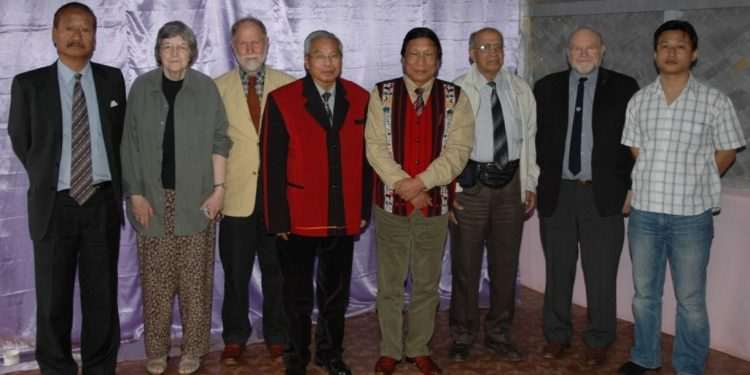 Andrew Clark (second from right) with NSCN (IM) former president late Isak Chishi Swu and general secretary Th. Muivah, convener of Forum for Naga Reconciliation Wati Aier and others. (File photo)