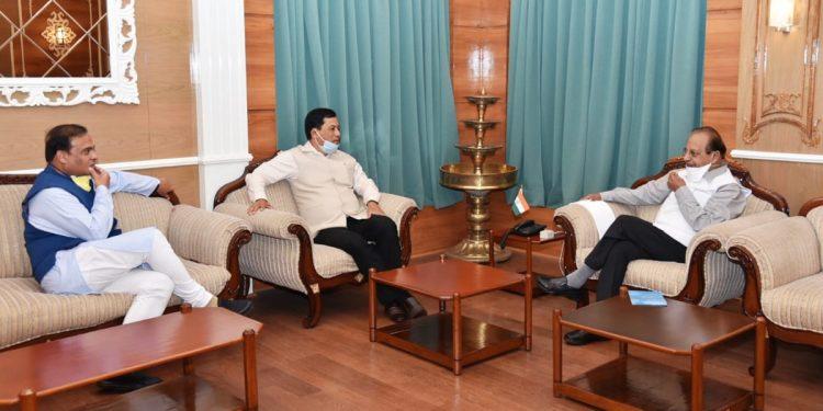 Sarbananda Sonowal-Himanta Biswa Sarma during a meeting with governor Prof Jagdish Mukhi