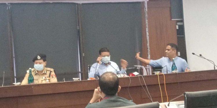 Assam chief secretary Kumar Sanjay Krishna (centre) during the press conference.