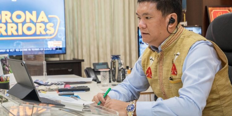 CM Pema Khandu during the video conferencing on Tuesday.
