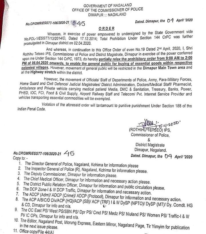 Lockdown: Prohibitory order to be relaxed for 5 hours in Dimapur from Monday 1