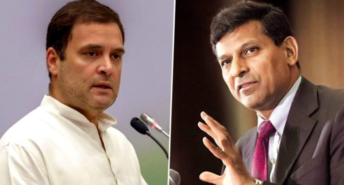 Former Congress president Rahul Gandhi and former RBI governor Raghuram Rajan.