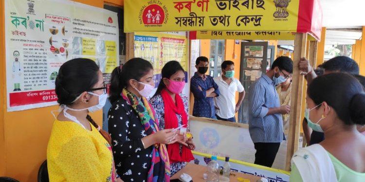 Manpreet Kaur, Henrita Boro and Khyati Rupa Sharma conducting an awareness programme at Tangla Community Health Centre (CHC) in Tangla town of Udalguri district on April 17, 2020. Image: Northeast Now