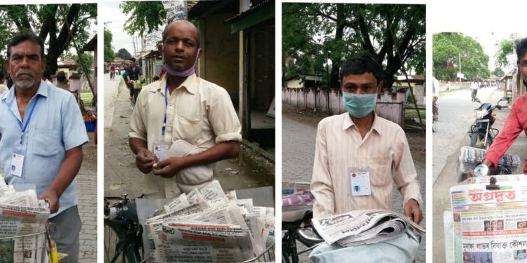 Hawkers Subir Roy, Raju Joarder, Krishna Roy and Babool Sarma out to deliver newspapers in Tangla town of Udalguri district on April 21, 2020.(Left to Right). Image: Northeast Now