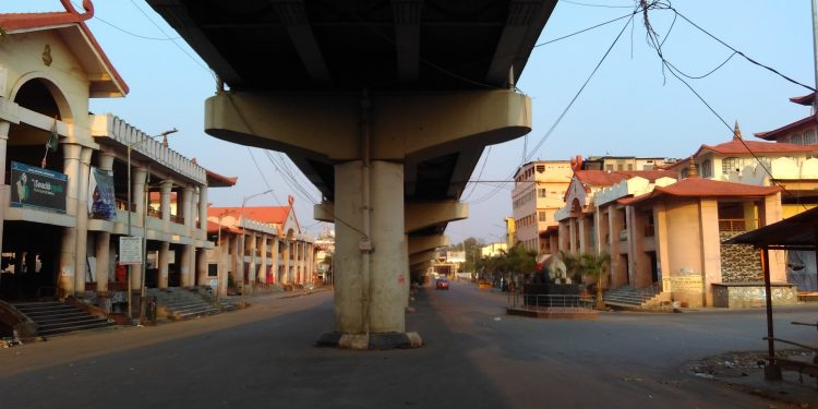 File image of a deserted street in Imphal during lockdown. Image: Northeast Now