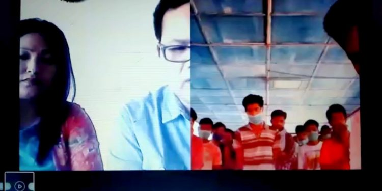 Screen grab  of the video conferencing conducted with jail inmates regarding COVID-19.
