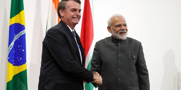 Brazil President Jair Bolsonaro with Prime Minister Narendra Modi