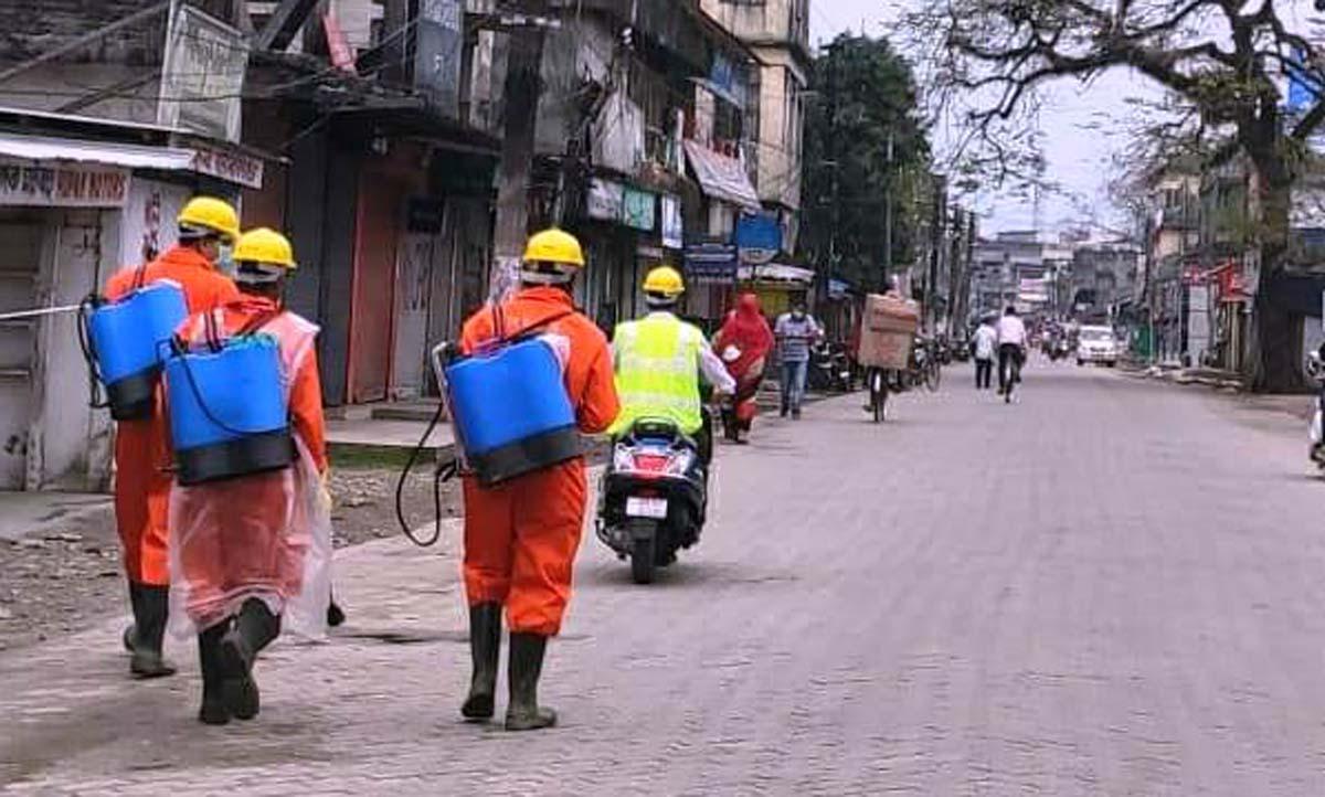Assam: NDRF conducts sanitisation drive in North Lakhimpur; Lilabari airport sanitised 4