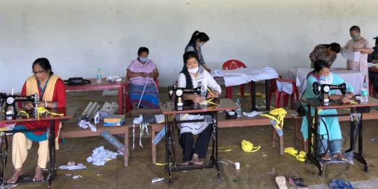 The stitching process started at the 1st APPBN colony in Chimpu near here recently.