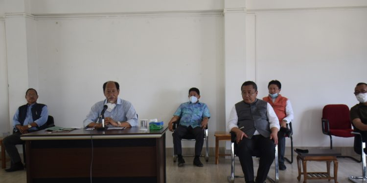 Nagaland chief minister Neiphiu Rio addresses a meeting in Dimapur on Tuesday.