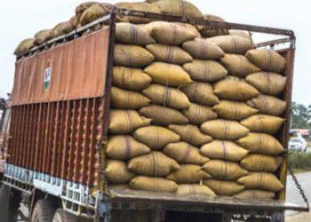 Rice-laden truck