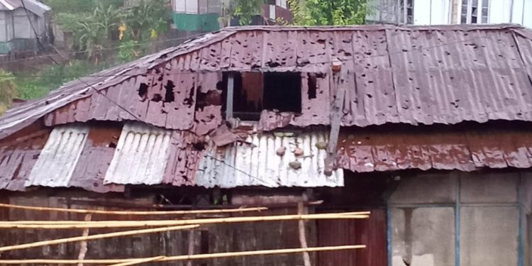 A damaged house in Mizoram. Image: Northeast Now
