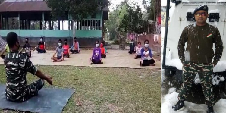 Manab Kalita imparting yoga lessons to students. Image: Northeast Now