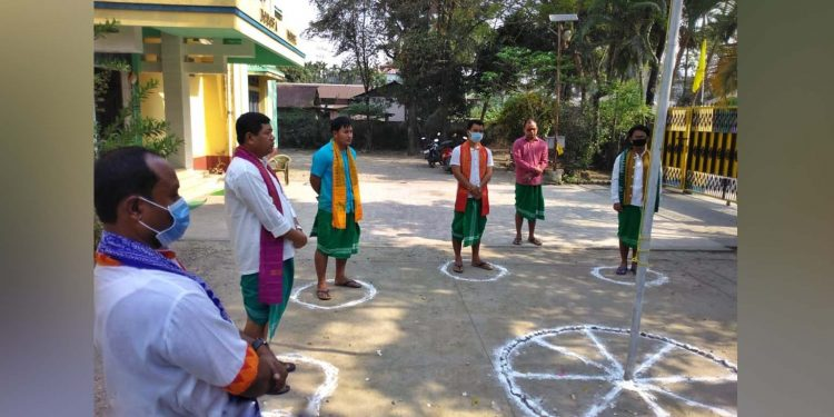 BSU members maintaining social distancing on the occasion at Kokrajhar on Tuesday. Image: Northeast Now