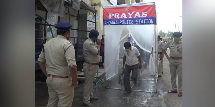 Body sanitizer set-up by Khowai police. Image: Northeast Now