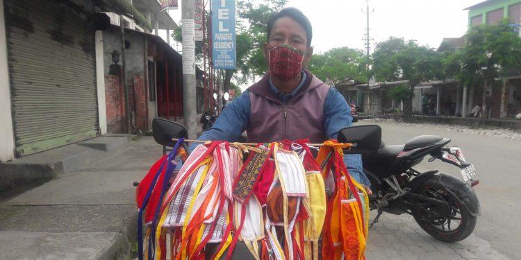 Brojen Daimari with his face masks. Image: Northeast Now