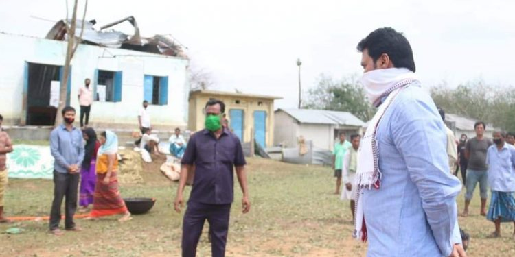 Tripura CM Biplab Deb inspecting the storm-affected areas. Image: Northeast Now