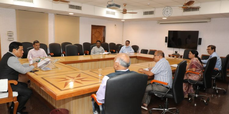 Assam CM Sarbananda Sonowal reviewing the power situation of the state.