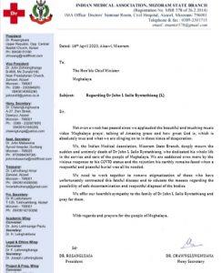 Mizoram IMA unit condoles demise of Meghalaya COVID-19 victim 1