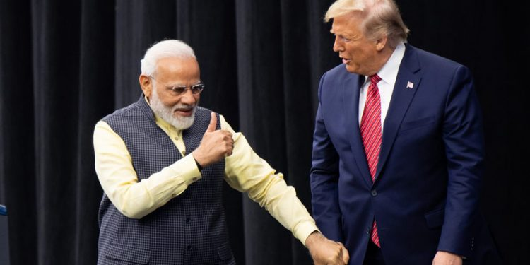 File image of the US President Donald Trump with Prime Minister Narendra Modi