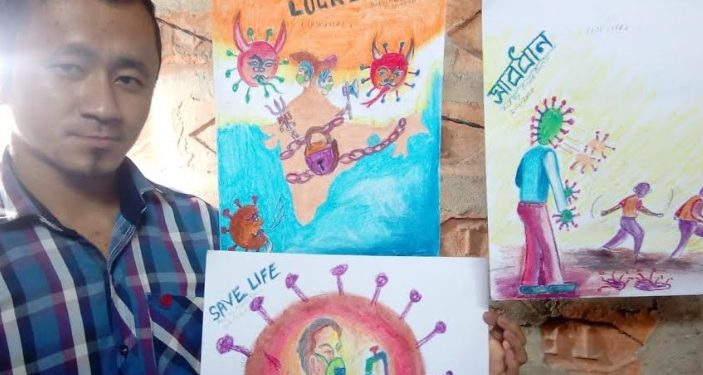 Artist Arup Boro along with his art works at his residence in Udalguri on April 6, 2020. Image: Northeast Now
