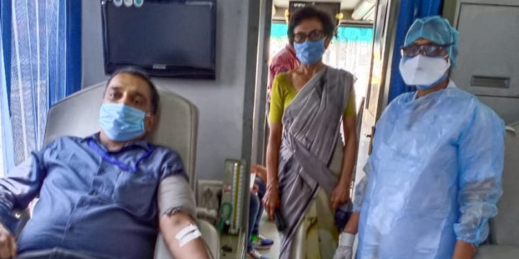 Commissioner of Taxes Shri Anurag Goel, IAS donating blood at Commissionerate of Taxes Office, Guwahati on May 2, 2020. Handout image