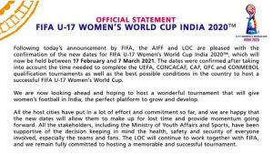 FIFA U-17 Women's World Cup from Feb 17 next year 1