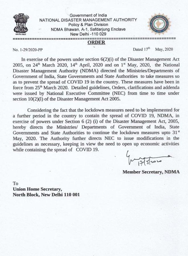COVID19: India extends lockdown till May 31 1