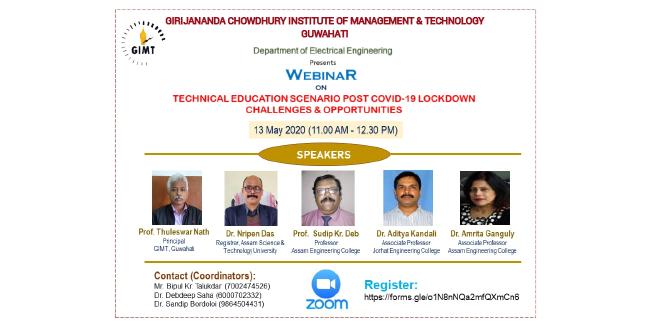 Assam: GIMT hosts webinar on post COVID-19 lockdown challenges 1