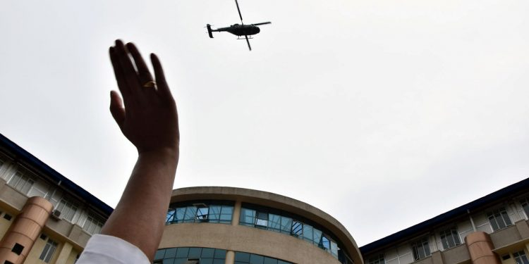 COVID-19: IAF helicopters shower flower petals over hospital in Itanagar 1