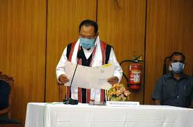Governor Dr Najma Heptulla administered the oath of office and secrecy to Awangbow.