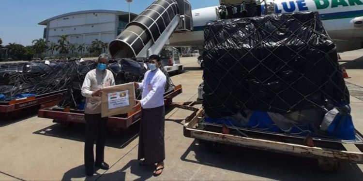 Medical supplies to Myanmar.