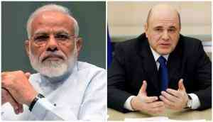 Joint up image of Prime Minister Narendra Modi and his Russian counterpart Mikhail Mishustin