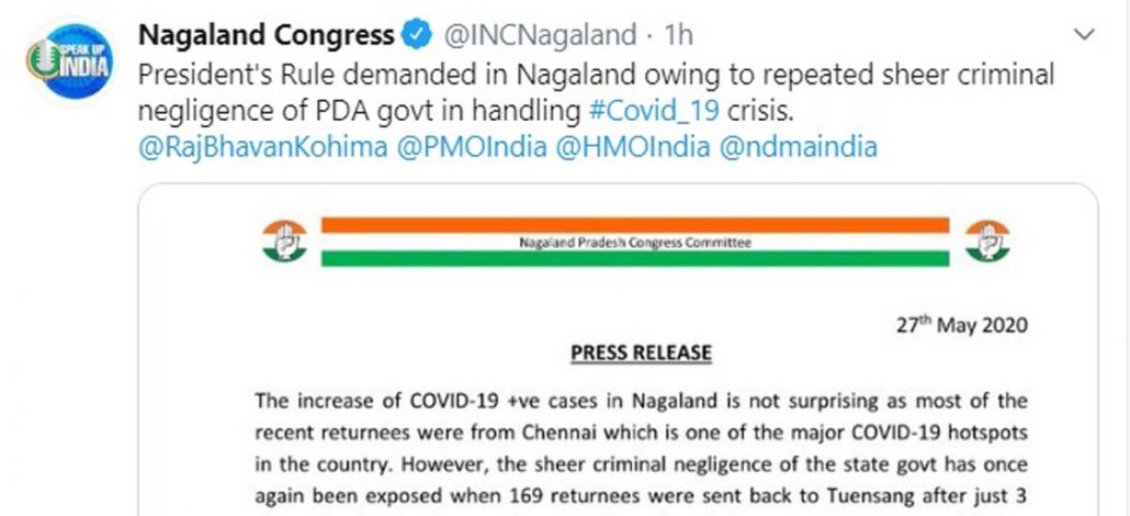 Congress alleges PDA govt's negligence in handling COVID19 situation, seeks President's Rule in Nagaland 1