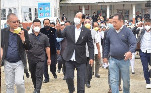 Nagaland chief minister Neiphiu Rio (centre) visits Covid-19 hospital in Zunheboto on Friday.