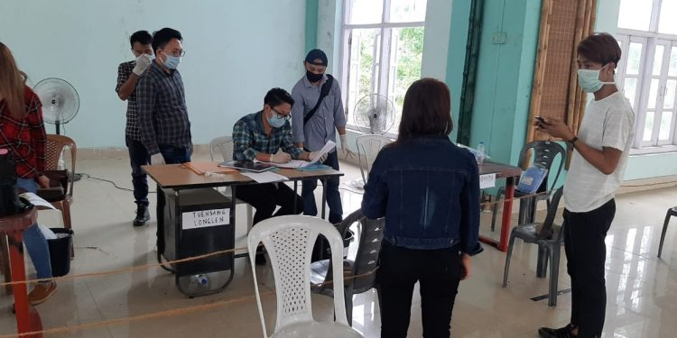 Returnees at the reception counter at Agri Expo site in Dimapur.  (File image)
