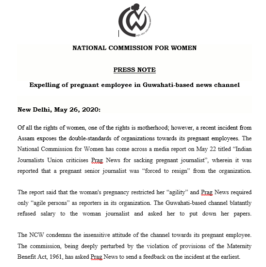 National Commission for Women issues show-cause notice to Prag News for 'sacking' pregnant journalist 1